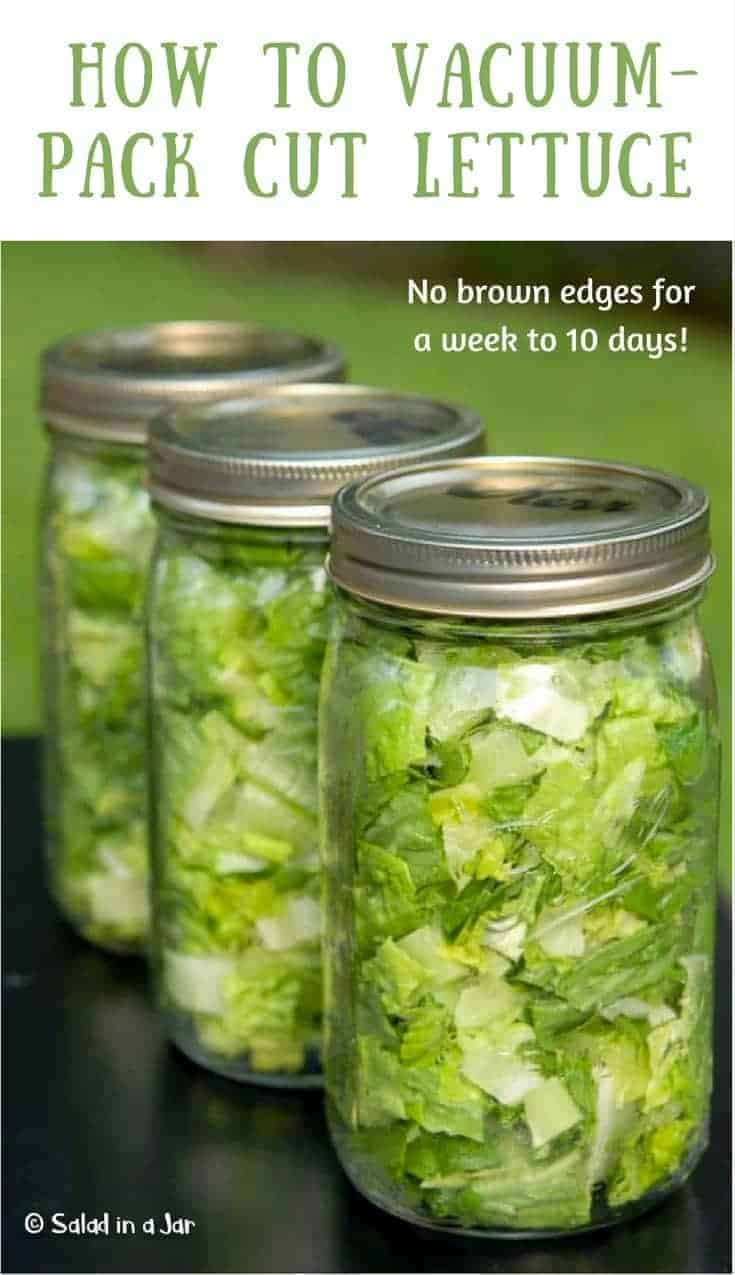 Learn how to vacuum-pack lettuce in a Mason jar to preserve freshness for up to 10 days.