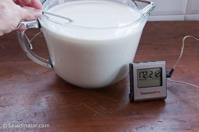 How to Make Healthy Homemade Greek Yogurt--taking temp of milk