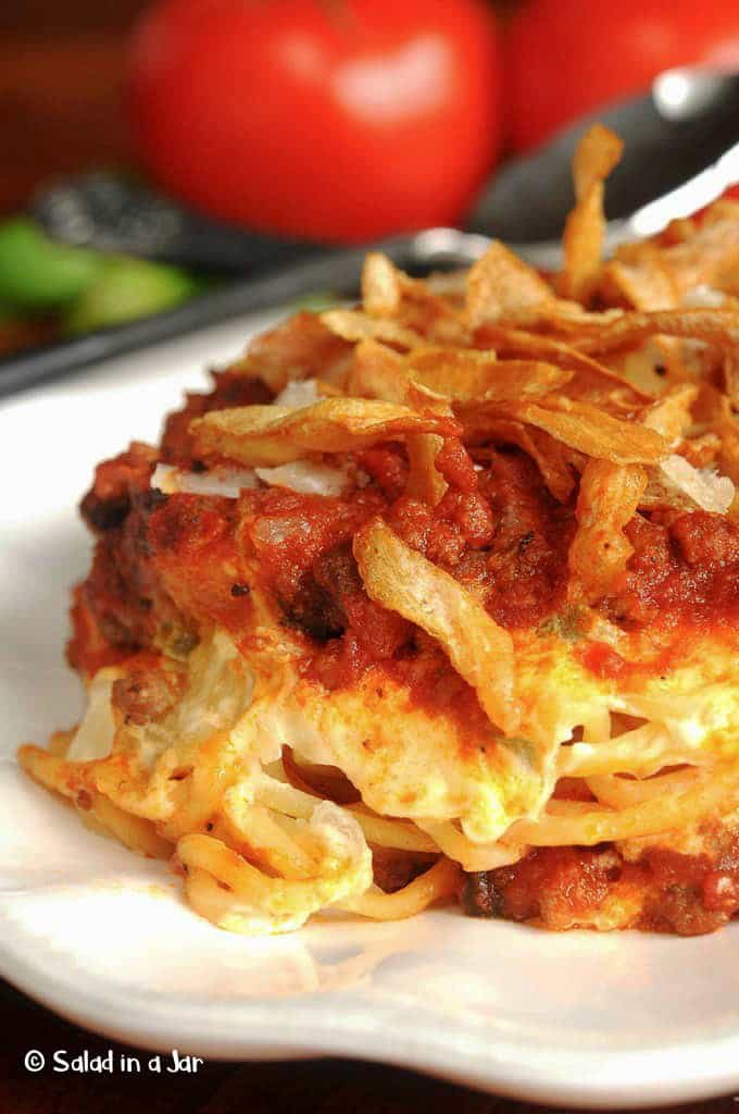 Scooter's Baked Spaghetti with French-Fried Onions -- Individual serving of Scooter's Spaghetti