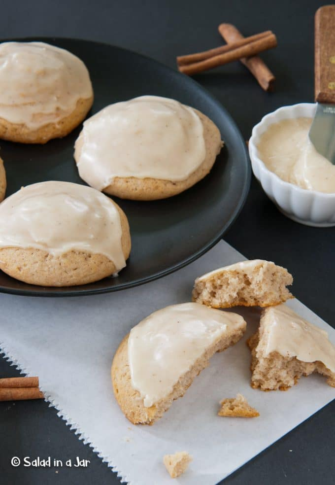 Cake-like cinnamon cookies with browned butter icing