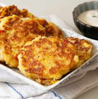 squash patties served with Ranch dressing