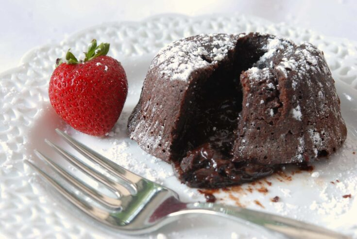 Individual chocolate cakes with a gooey chocolate center