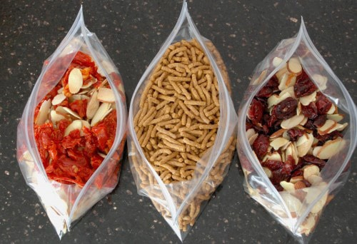 Salad Toppings: sundried tomatoes, Fiber One, almonds and cranberries