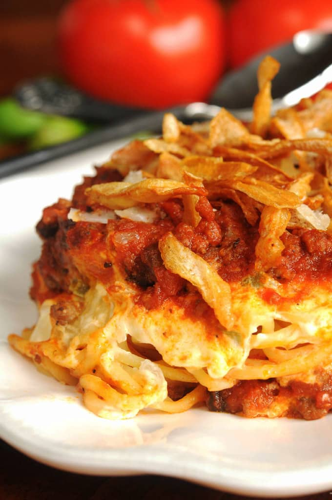 Spaghetti Casserole with French Fried Onions