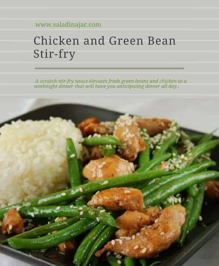 Tender green beans and chicken combined in a spicy stir fry sauce, then served over rice.