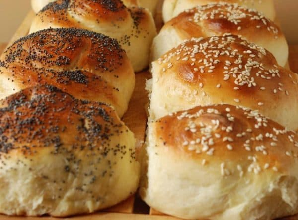 seeded twirly buns made in a bread machine
