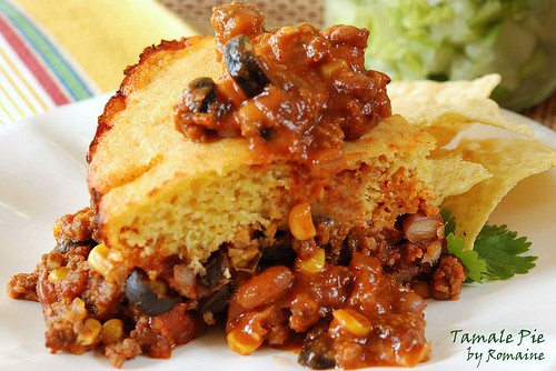 TAMALE PIE - slice on a plate with chips