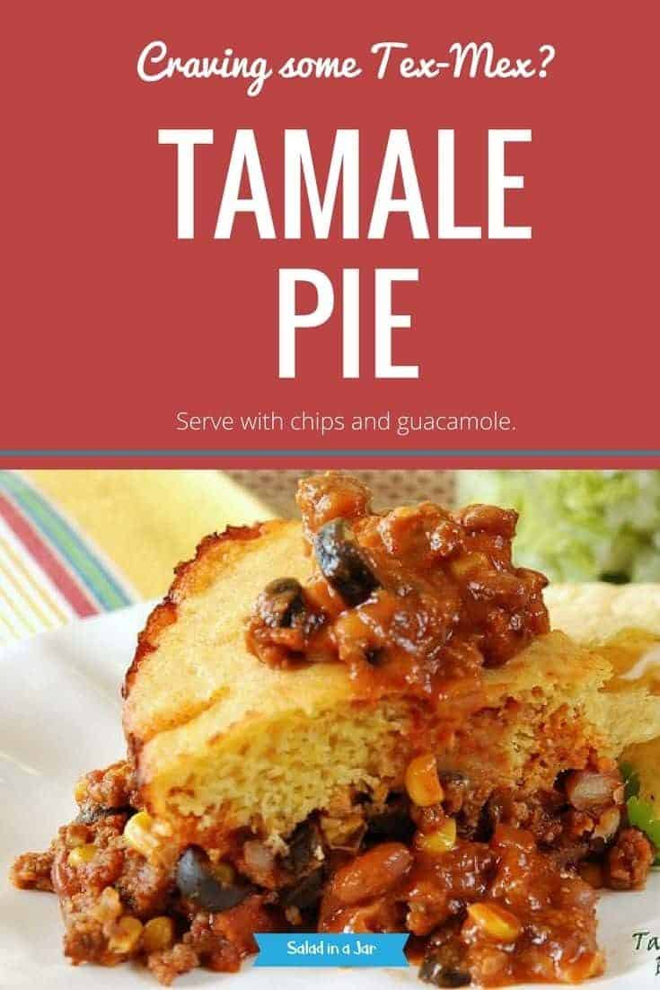 A one dish dinner -Tamale Pie-a mildly spicy meat, bean and corn mixture topped with cornbread.