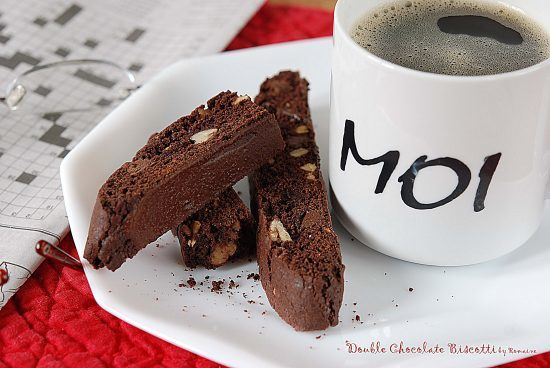 Triple Chocolate Biscotti with a cup of coffee