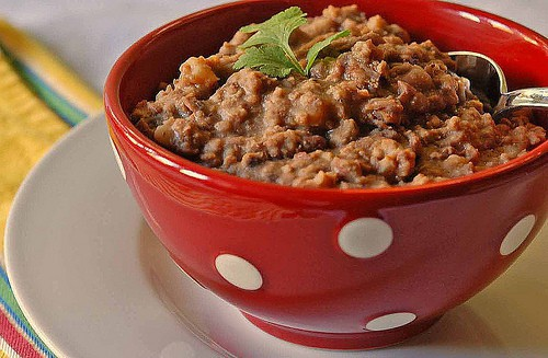 Beefy Refried Beans for Quick Burritos and More --bowl of beans