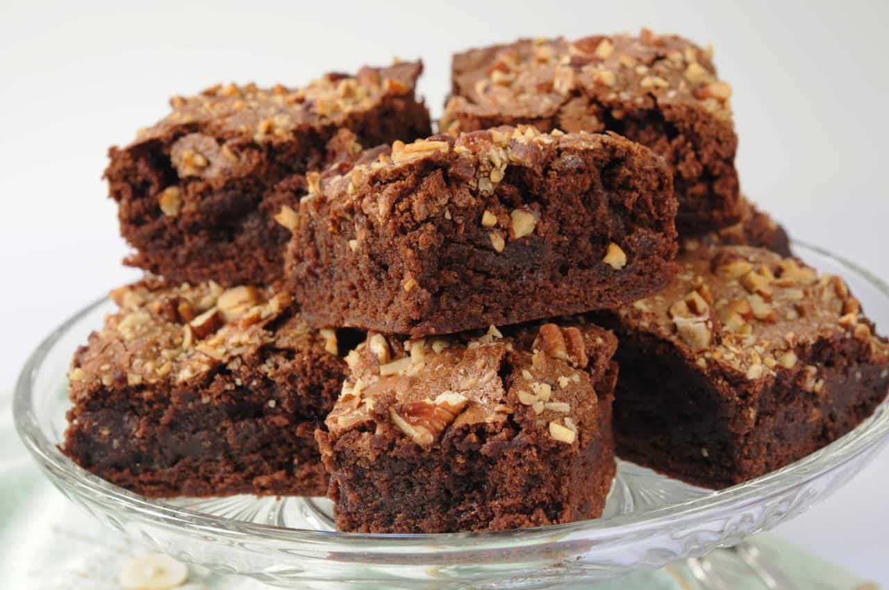 Cut brownies on  a pretty dish