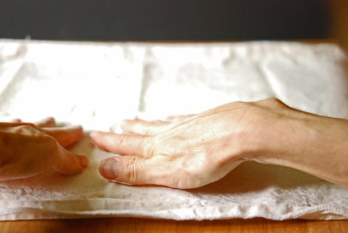 working the flour in with hands
