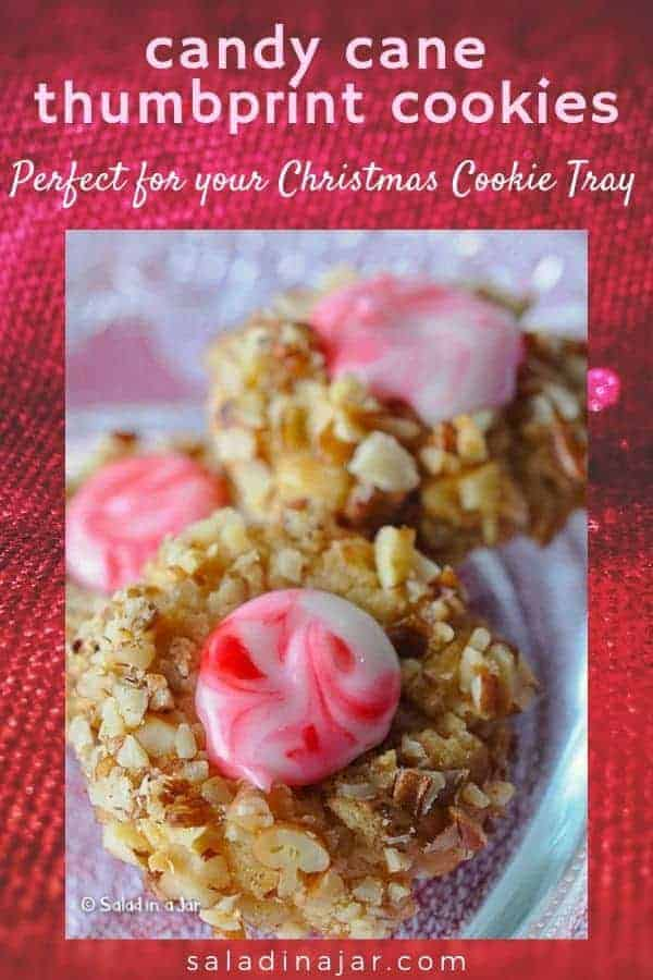 Festive Thumbprint Cookies with a swirled icing--perfect for a Christmas cookie tray.