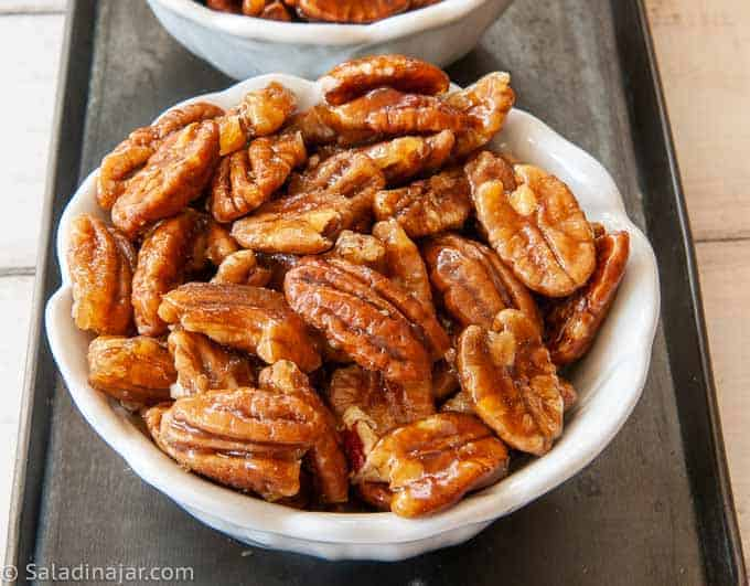 bowl of candied pecans