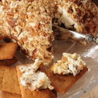 DATE CHEESE BALL-served next to homemade graham crackers
