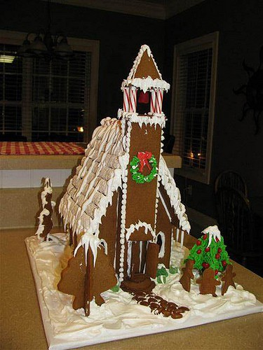 Directions for making and decorating gingerbread church house