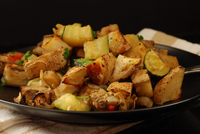 roasted eggplant and potatoes