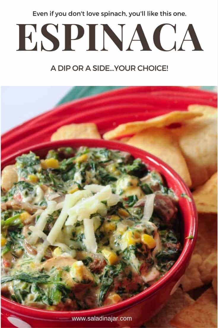 Spinach, corn and mushrooms combine with cream cheese and green chilies to make this spicy and savory dip or side dish.