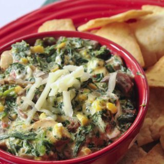 spinach, corn, cheese, dip, party, side dish, veggie, vegetables