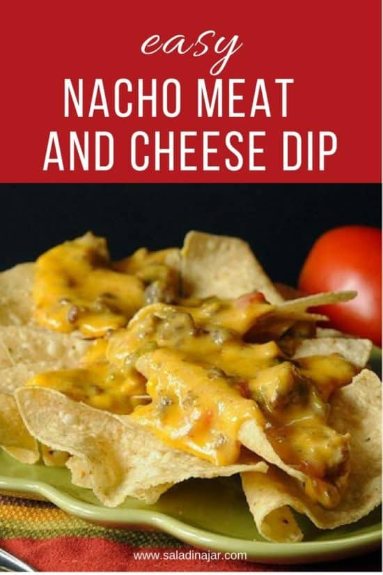 nacho meat and cheese dip over chips