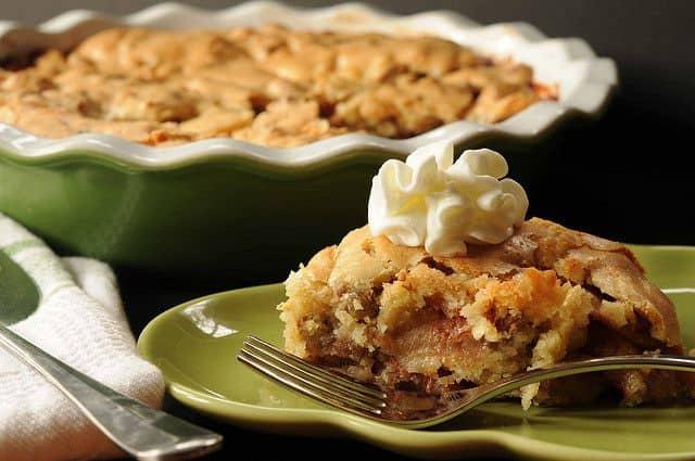 Swedish Apple Pie--slice in front of pie