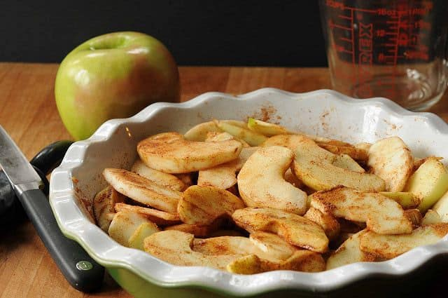 Swedish Apple Pie--raw apples in a pie plate