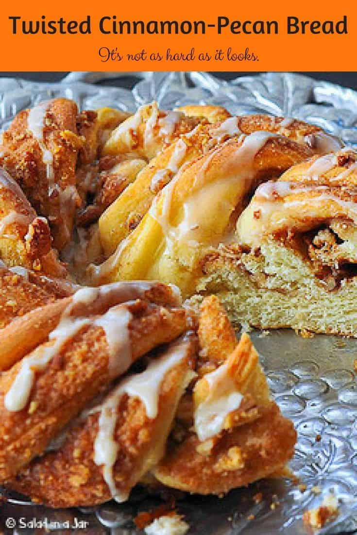 Impress your friends and family with this fancy but easy Twisted Cinnamon-Pecan Breakfast Yeast Bread--a bread machine recipe