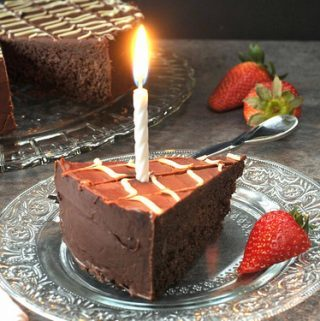 GLAZED FUDGE BIRTHDAY CAKE