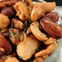 WARM AND TOASTY NUTS WITH ROSEMARY AND SHALLOTS