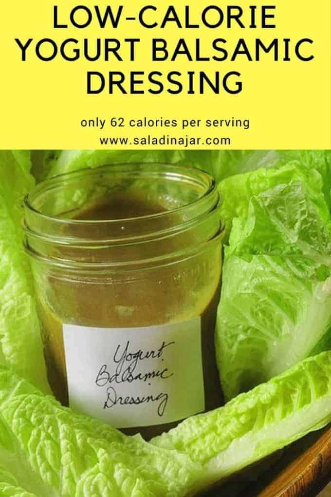Pinterest image for low-calorie yogurt balsamic dressing
