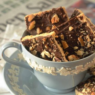 TOFFEE BARS in a tea cup