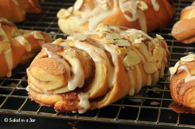 Almond Fans--A Sweet Yeast Roll --rolls on cooling rack