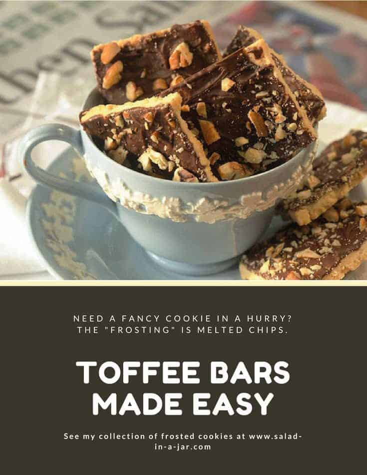 These layered bars have a shortbread base covered with melted chocolate chips and chopped pecans.