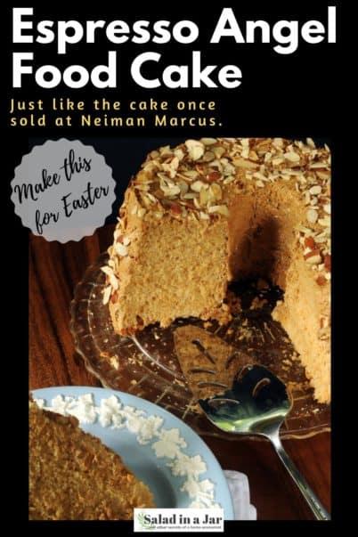 a slice of espresso angel food cake