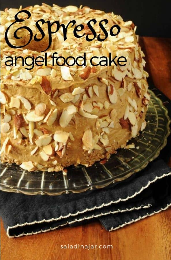 Espresso Angel Food Cake goes the easy route with a cake mix flavored with instant espresso. The cake is slathered with a rich espresso-flavored icing, then randomly studded with toasted sliced almonds.