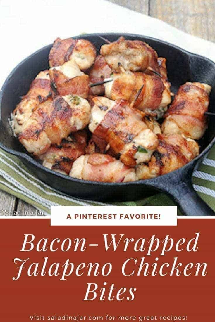 Men go crazy for these Bacon-Wrapped Jalapeño Chicken Bites..Great for the grill.