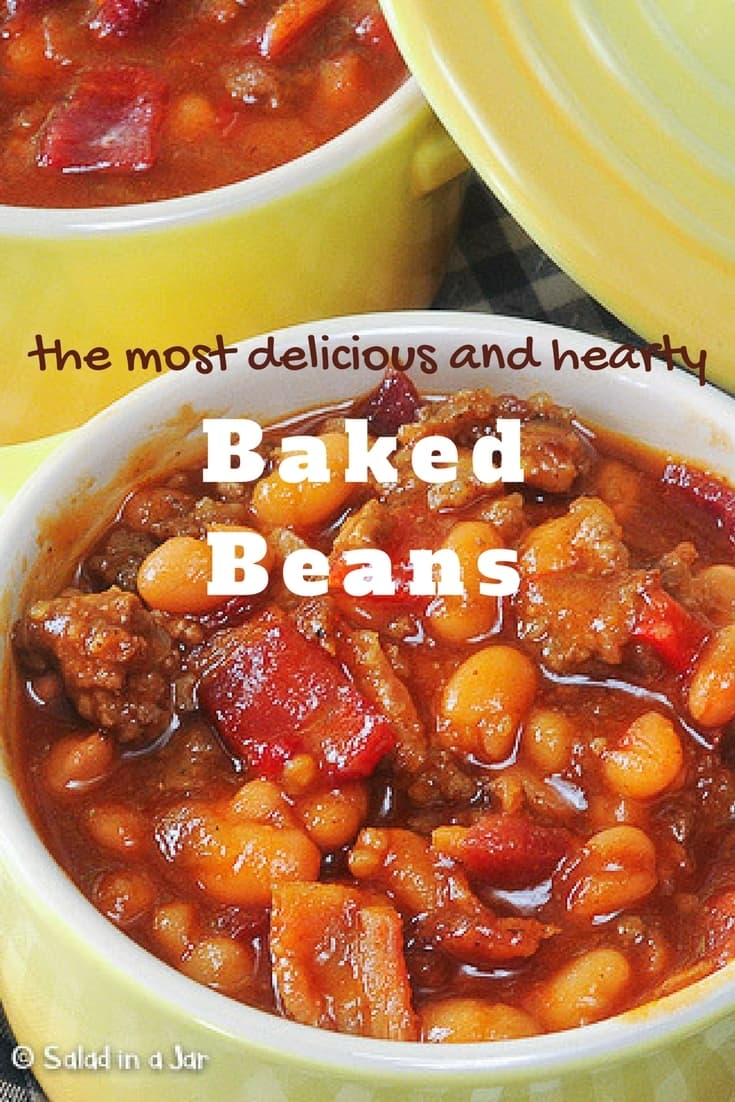Hearty Baked Beans, bacon, ground beef, barbecue sauce