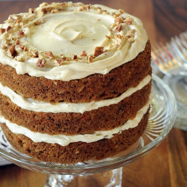 3 Layer Carrot cake without pineapple iced with cream cheese icing.