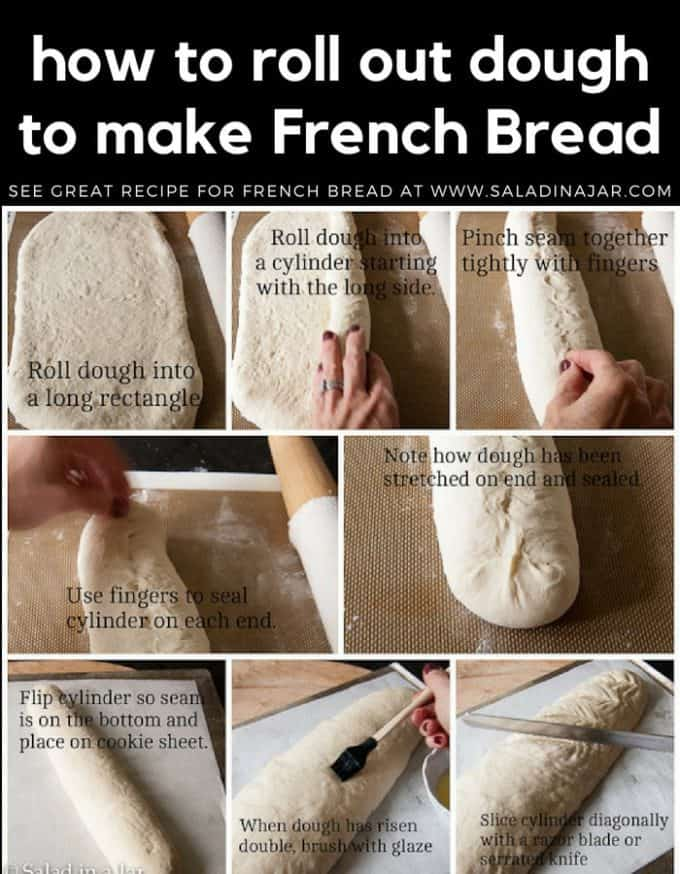 storyboard showing how to roll-out French bread