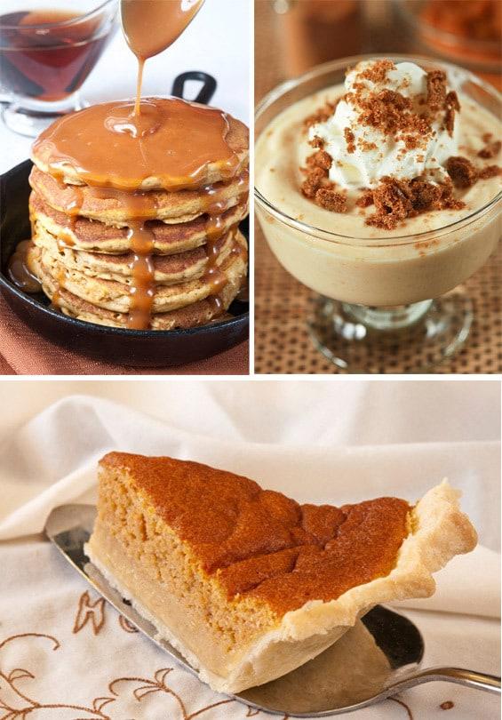 Pumpkin pancakes | pumpkin yogurt parfait | pumpkin sponge pie