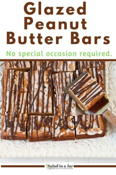 pan of glazed peanut butter bars sliced to serve