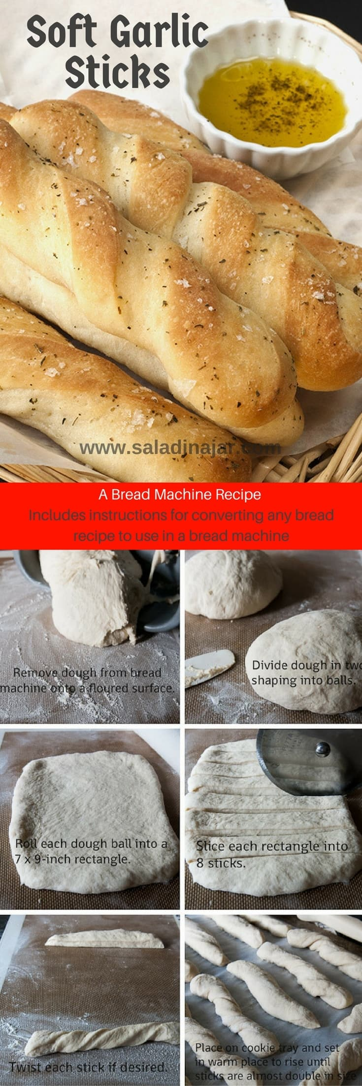 Soft-Garlic-Sticks-Made-in-a-Bread-Machine includes how to convert any bread recipe for use in bread machine
