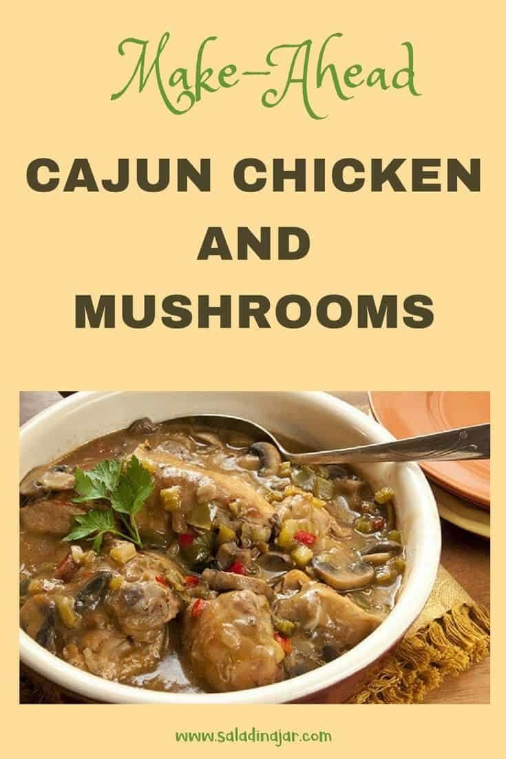 Chicken and Mushrooms in a gravy based on a roux with Cajun seasonings. A good make-ahead dish.