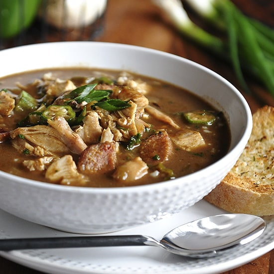 CHICKEN AND SMOKED SAUSAGE GUMBO - soup in a bowl