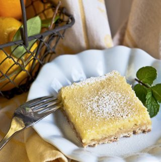 MEYER LEMON YOGURT SQUARES--one square on plate ready to eat