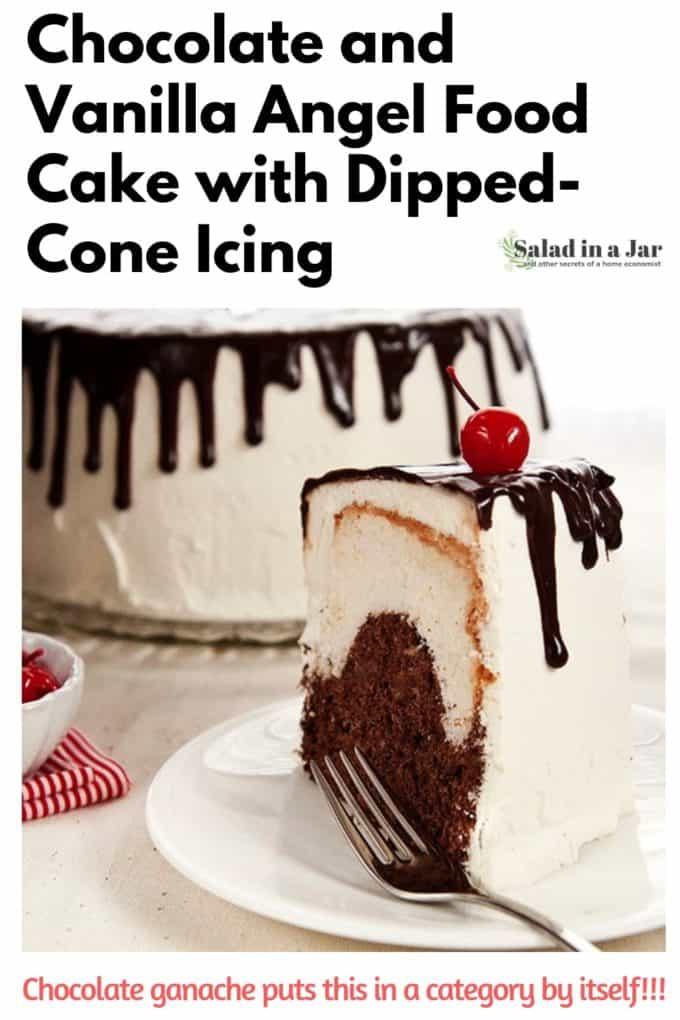 slice of chocolate and vanilla angel food cake