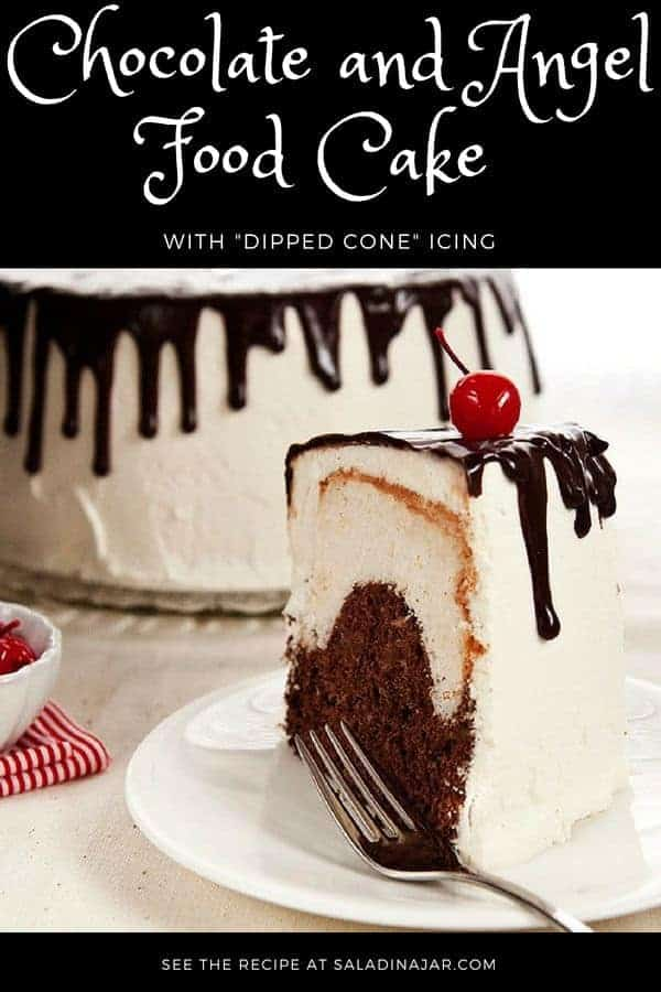 Chocolate and vanilla angel food cake frosted with whipped cream icing and chocolate ganache that will remind you of a dipped cone from the DQ.
