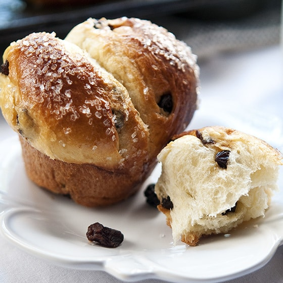 Eggy, light and buttery brioche is mixed and kneaded with a stand mixer. Studded with raisins.