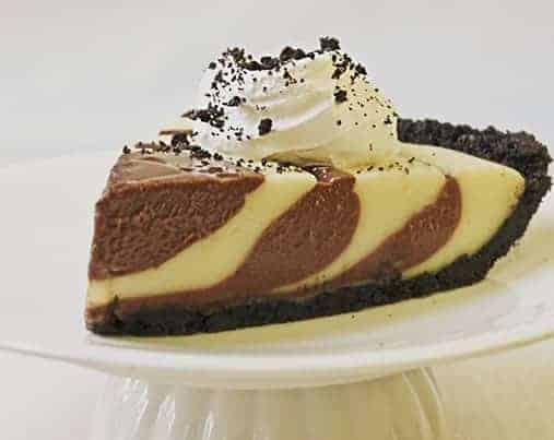 Zebra Cream PIe--A chocolate and vanilla layered cream pie with an Oreo cookie crust.
