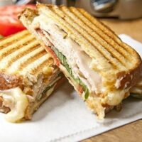 Smoked Turkey, Pepper Jack Cheese, and Basil Panini
